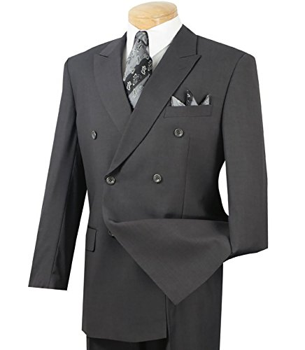 Vinci Men's Premium Solid Double Breasted 6 Button Classic-Fit Suit New [Color Heather Gray | Size: 40 Long/34 Waist]