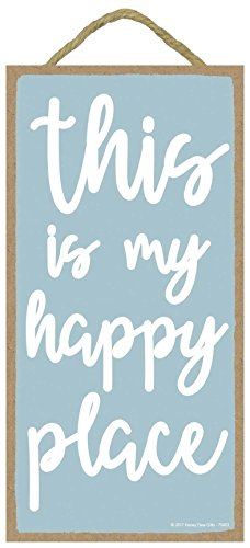 Honey Dew Gifts Wall Hanging Decorative Wood Sign - This is My Happy Place 5x10 Hang on The Wall Home ()