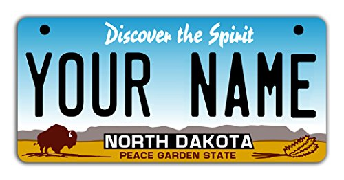 BleuReign(TM Personalized Custom Name North Dakota State Motorcycle Moped Golf Cart License Plate Auto Tag ()