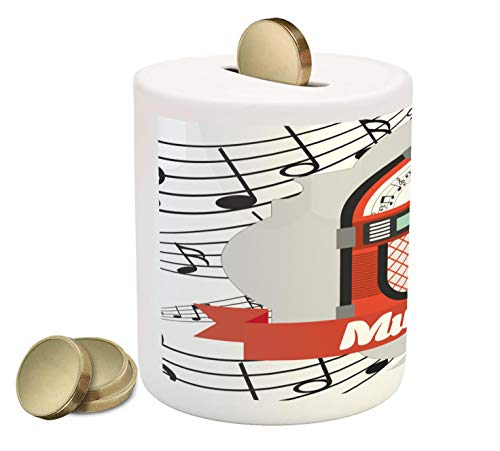 Ambesonne Jukebox Piggy Bank, Old Vintage Music Radio Box Cartoon Style Image with Notes Artwork Print, Printed Ceramic Coin Bank Money Box for Cash Saving, Vermilion White Grey