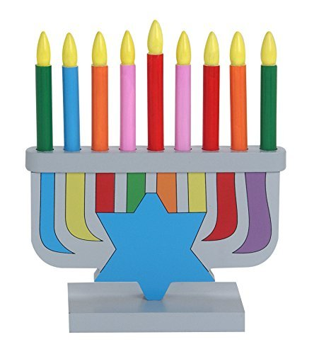(Children's Wooden Toy Menorah With Removable Candles)