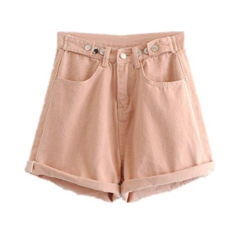 FuweiEncore Femme Shorts de Jeans Taille Haute Shorts Amincissant Grande Taille Rose