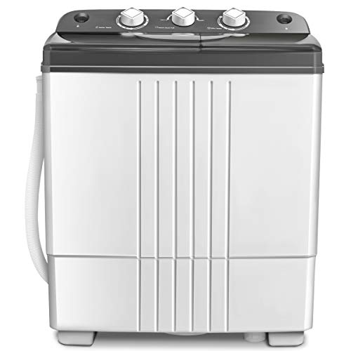 COSTWAY Washing Machine, Twin Tub 20Lbs Capacity, Washer(12Lbs) and Spinner(8Lbs), Portable Compact Laundry Machines Durable Design Energy Saving, Rotary Controller and Washer Spin Dryer(Grey + White)