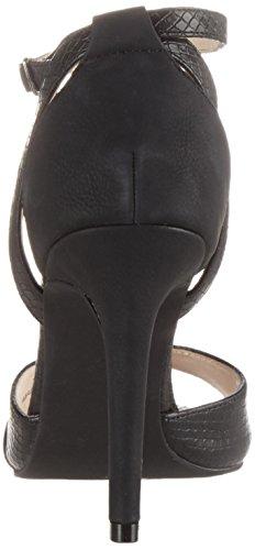 Bianco Stiletto Sandale - Tira de tobillo Mujer Schwarz (Black)