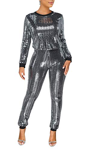 Lucuna  Women 2 Pieces Sequins Pullover Hoodies Long Pants Sweatsuits Tracksuits Set , Medium , 12blacksilver