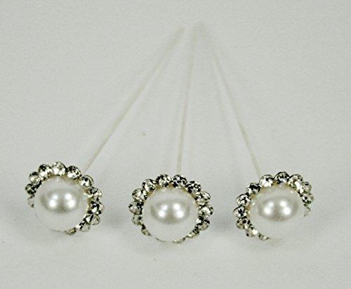 NST 18 Bouquet Pins Corsage Wedding Floral Rhinestone Diamond 12MM - Pin Bouquet