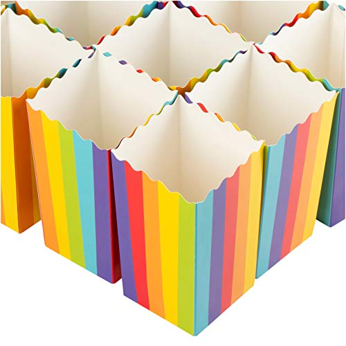Set of 100 Popcorn Favor Boxes - Carnival Parties 20oz Mini Paper Popcorn and Candy Containers, Party Supplies for Movie Nights, Birthday, Baby Shower, Rainbow Colors - 3.3 x 5.5 x 3.3 Inches -