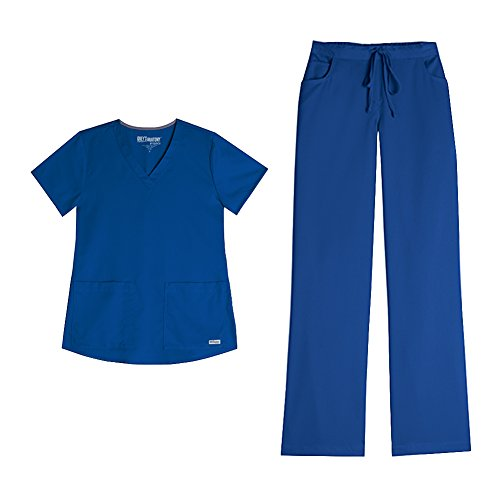 New Women Nursing Scrub (Grey's Anatomy Women's 3 Pocket V-Neck Top 71166 & Drawstring Pant 4232 Scrub Set (New Royal - Small/Medium Tall))