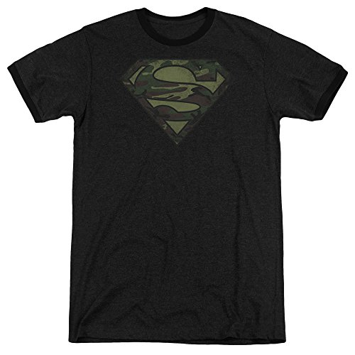Superman Camo Logo Distressed Mens Adult Heather Ringer Shirt Black (Camo Logo Ringer Tee)