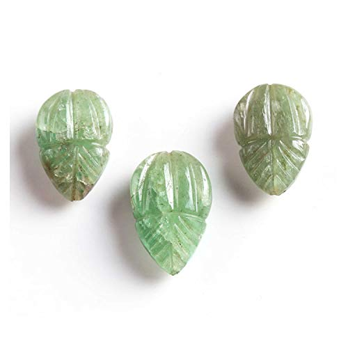 K B Narnolison Natural Zambian Emerald Carved Leaf Shaped Beads 3 Piece Emerald Loose Gemstone ()
