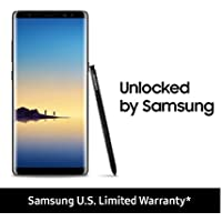 "Samsung SM-N950UZKAXAA Galaxy Note8 (US Version) Factory Unlocked Phone - 6.3"" Screen - 64GB - Midnight Black (U.S. Warranty)"
