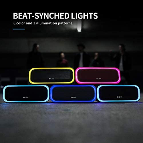 Bluetooth Speakers, DOSS SoundBox Pro Portable Wireless Bluetooth Speaker with 20W Stereo Sound, Active Extra Bass, Wireless Stereo Pairing, Multiple Colors Lights, IPX5, 20 Hrs Battery Life -Black 41khyu0cY6L