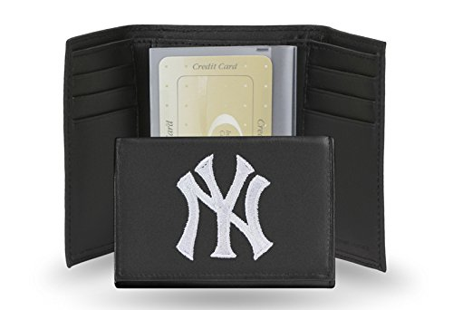 New York Yankees Leather Tri-Fold Wallet with Embroidered Logo by Rico