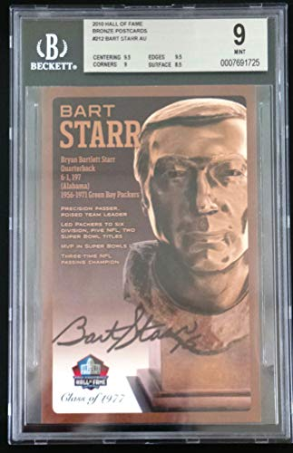 PRO FOOTBALL HALL OF FAME Bart Starr NFL Signed Bronze Bust Set Autographed Card with COA (Limited Edition #30/150) BGS 9 Mint Bart Starr Autographed Nfl Football