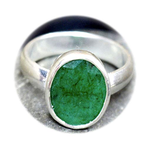 Stone Genuine Ring (Choose Your Color Natural Gemstone Chakra Healing Ring Sterling Silver 5 Carat Handmade Jewelry Size 5-13)