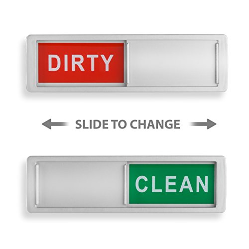 Dirty Dishwasher Magnet - Clean Dirty Dishwasher Magnet - Non-Scratch Magnetic Silver Signage Indicator for Kitchen Dishes with Clear, Bold & Colored Text - Easy to Read & Slide for Changing Signs (silver)