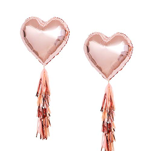 Tassel Shaped (Fonder Mols 18'' Rose Gold Heart Shaped Foil Party Balloons Metallic Rose Gold Pink Peach Tassels Wedding Birthday Party Hanging Decorations(Set of 17))