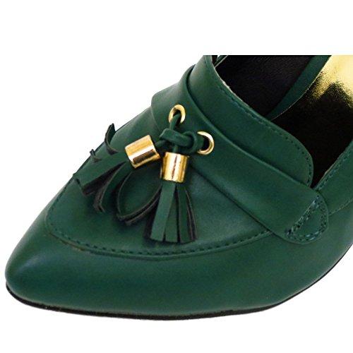 Damen-grün zum Reinschlüpfen Spitz Hof Works Stiletto Halbschuhe Fransen Schuhe Pumps Größen 3-8