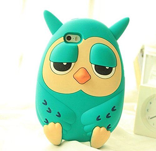 Lovely Cartoon 3D Realistic Owl Case for Apple iPhone 6+ Fashion and Cute Soft Silicone Back Cover for iphone 6plus (5.5inch) Cool Cellphone Protector Shell BLUE