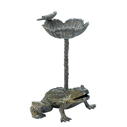 Distressed Verdigris Green Shabby Frog Vintage Bird Bath Feeder Outdoor Statue