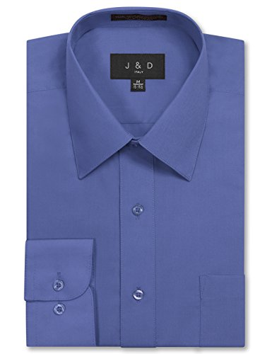 JD Apparel Men's Long Sleeve Regular Fit Solid Dress Shirt 16-16.5 N : 36-37 S French Blue