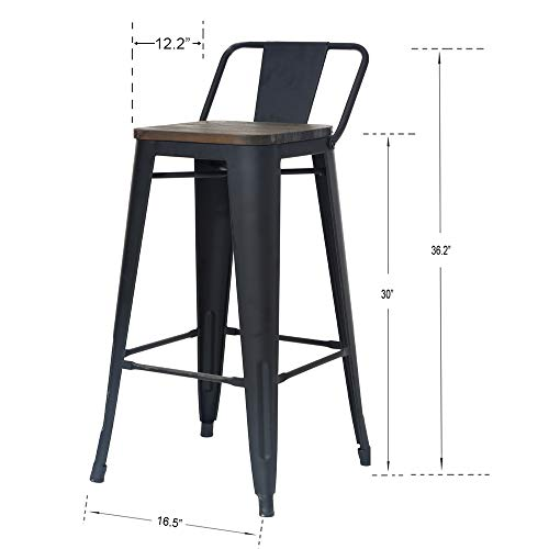 ZHENGHAO Industrial Metal Bar Stools Set of 4, 30 Bar Height Barstool Chair with Low Back, Wooden Seat Matte Black