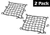 "Automotive : 15""x15"" PowerTye Mfg Cargo Net featuring 6 Adjustable Hooks & Tight 2""x2"" Mesh, Black (2-Pack)"