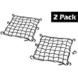 "15""x15"" PowerTye Mfg Cargo Net featuring 6 Adjustable Hooks & Tight 2""x2"" Mesh, Black (2-Pack)"