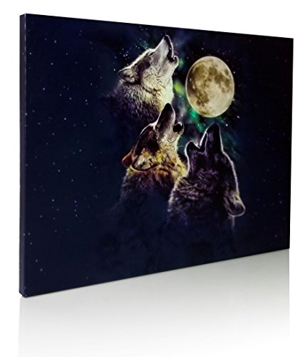 Wolf Canvas Print - LED Lighted Print - 3 Wolves Howling at the Moon and Starry Night Sky