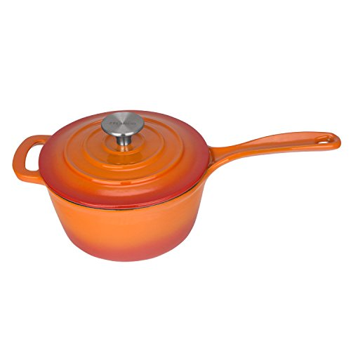 Zelancio 2.5 Quart Cast Iron Enamel Sauce Pan Pot Covered Sauce Pot (Tangerine - Pot 2.5 Covered Quart