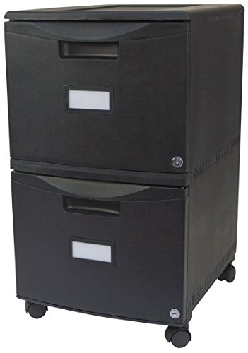 Storex 61312B01C Two-Drawer Mobile Filing Cabinet, 14-3/4w x 18-1/4d x 26h, Black by Storex
