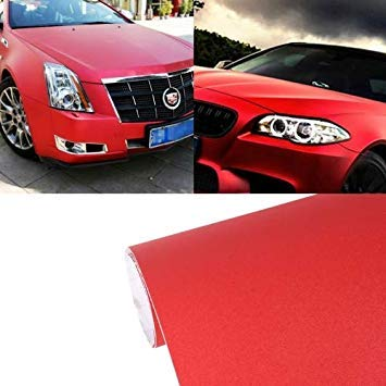 Uniqus 7.5m  0.5m Grind Arenaceous Auto Car Sticker Pearl Frosted Flashing Body Changing color Film for Car Modification and Decoration(Red)