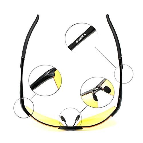 9179eb3d40 SOXICK HD Polarized Night Driving Glasses Anti Glare Safety Glasses (Black1)  Sporting Goods .