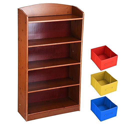 (5-Tier Shelving Book Shelf w/ 3 Non-Woven Bins Display Rack Storage Organizer Brown Wood Kids Adult Home Living Room Bed Room Office)