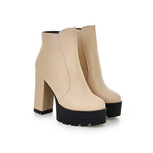 High Women's Low Boots Top Beige Zipper AmoonyFashion Pu Heels Solid SHO6q6w