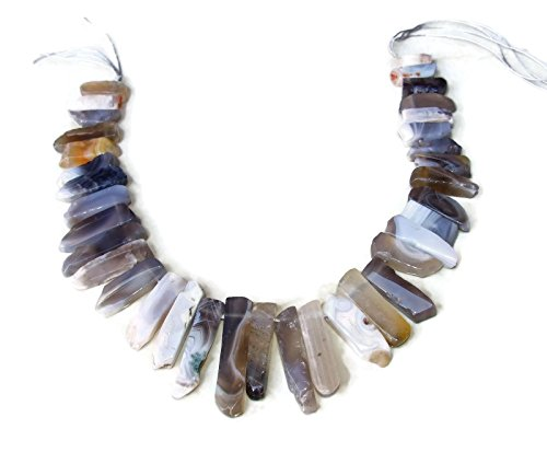 Botswana Agate Slab Slice Stick Teeth - Graduated - Natural Agate - Polished - Full Strand - 30mm - 45mm (30 Agate Mm)