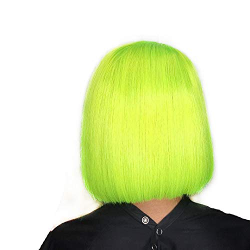 Amazon.com : XRS Hair Wig Lime Green Color Lace Front Bob Wigs for Women With Baby Hair Natural Hairline Peruvian Virgin Human Hair Wigs 8Inch : Beauty