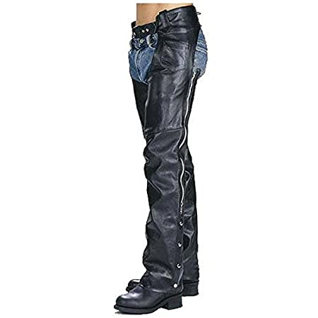 Xelement 7550 Classic Black Unisex Leather Motorcycle Chaps - 32