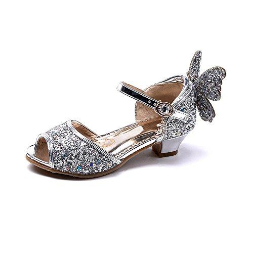 OCHENTA Girls' Peep Toe Princess Butterfly Kitten Heels Glitter Sandals Silver Tag 32-13.5 M US Little Kid by OCHENTA