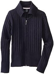 U.S. Polo School Uniform Big Girls\'  Zip Front Sweater Jacket, Navy, 7/8