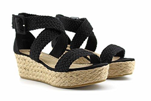 Modelisa - Sandalia Plataforma Trenzadas Mujer Negro