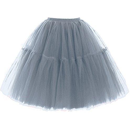 FOLOBE Adult Ballet Tutu Layered Organza Lace Mini Skirt Women's Princess Petticoat for Prom Party,Small / Medium,Darkgray]()