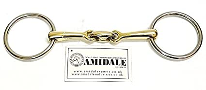 AMIDALE LOOSE RING LOZENGE FAT LINK COPPER MIX SNAFFLE HORSE BIT S/S GERMAN SILVER BNWT (5.75)
