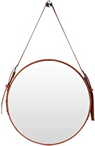 HUAXUE Bathroom Furniture/Bathroom Mirrors/Makeup Mir Round Decorative Wall Mirror with Adjustable Hanging Strap Creative Makeup Iron Mirrors for Bathroom & Living Room Industrial Home Décor