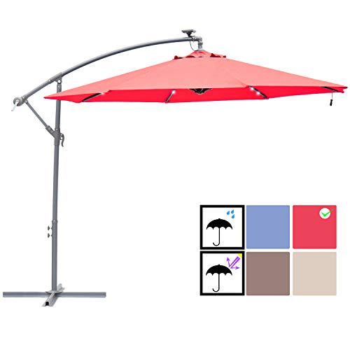 SUNBRANO 10ft Solar Power LED Outdoor Cantilever Patio Umbrella, Offset Crank Hanging Umbrella with 32 LED Lights, 8 Ribs, Red