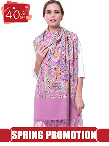 MORCOE Women's Exotic Design Wool Delicate Embroidered Soft Fringe Long Scarf Wrap Ladies Party Shawl Valentines Day Gift (Purple)