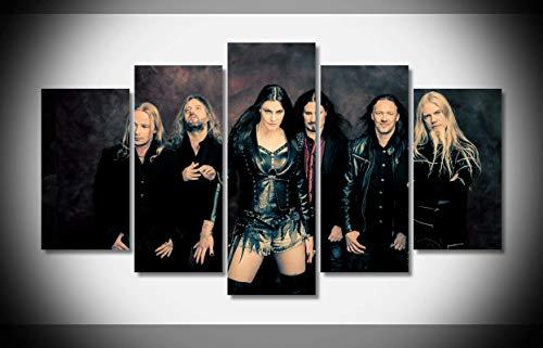 Mcanvas 5pcs Nightwish Symphonic Metal Bands Canvas Print Wall Art Painting for Home Modern Decoration