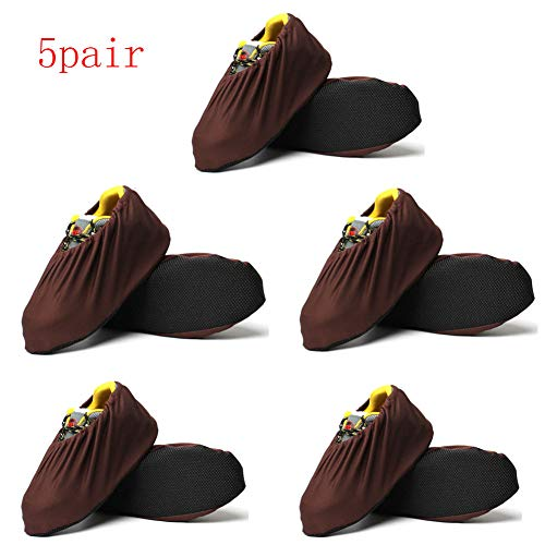 5Pack Shoe Covers - Washable Reusable Boot & Shoe Cover, Recyclable, Heavy Duty Indoor/Outdoor, Non Slip, Carpet & Floor Protection, Stretchable One Size Fits Most