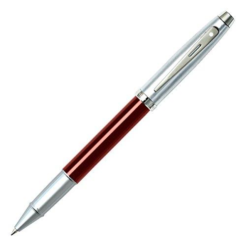 Sheaffer 100, Brushed Chrome Cap, Red Barrel, Nickel Trim, Rollerball (E1930751-30)