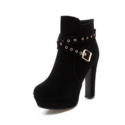 AmoonyFashion Womens Flock Low-top Solid Zipper High-Heels Boots Black 84khFsTvxw